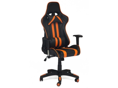 Кресло Icar кож.зам Чёрный + Оранжевый