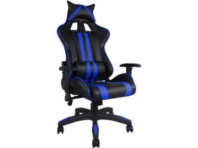 Кресло Icar кож.зам Чёрный + Синий