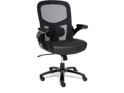 Кресло Big-1 сетка + рецикл. кожа Чёрный