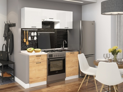 Кухня Дуся-2 1600 Белый глянец-дуб бунратти