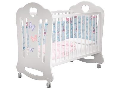 Кроватка детская Шарлотта базовая Бабочки Белая