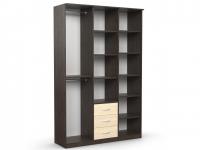 Шкаф комбинированный Дуэт Люкс 1500х450х2300 с зеркалом венге